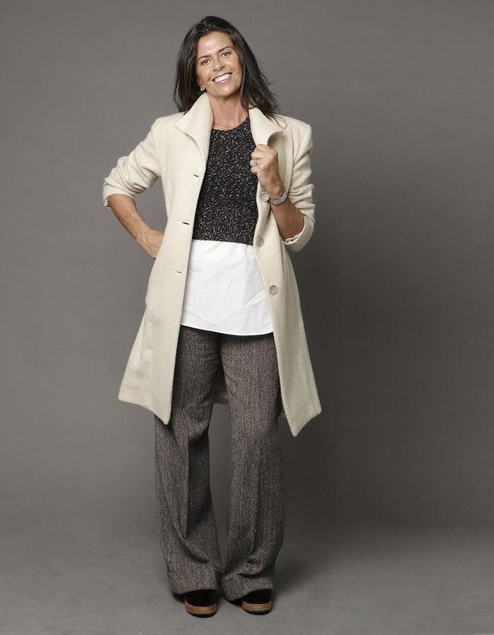Anana, pantalón, abrigo y zapatos, colección personal  / Banana Republic, top