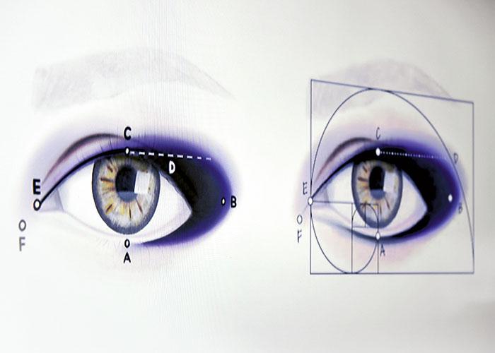 Explicación de la australiana Rae Morris sobre cómo maquillar los ojos usando la proporción de Phi.