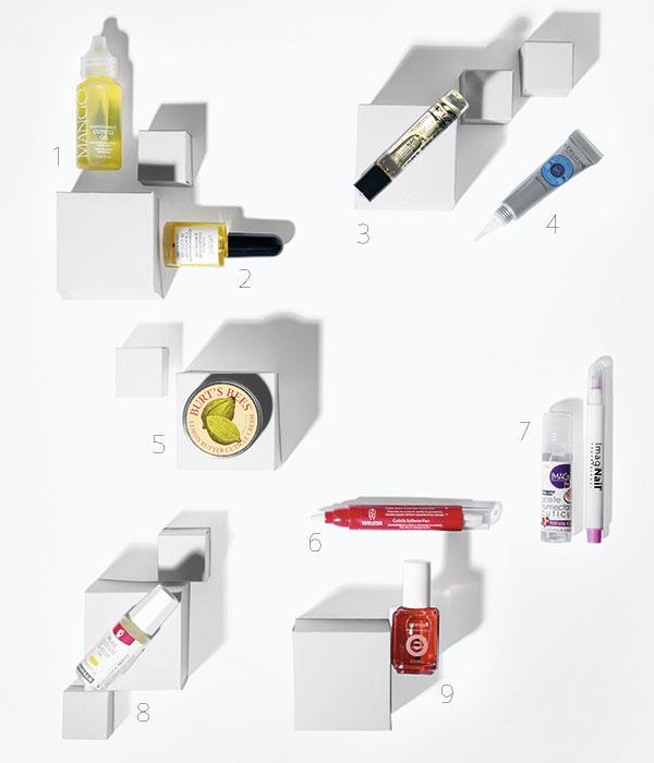 1. California Mango, Cuticle Oil, $7.490; 2. Femails en Pichara, Cuticle Conditioner & Revitalizer, $2.800; 3. Alessandro, Nail & Cuticle Oil, $8.500; 4. L'Occitane, Nail & Cuticle, Nourishing Oil, $15.000; 5. Burt's Bees, Lemon Butter Cuticle Cream, $6.490; 6. Weleda, Lápiz para Suavizar Cutículas, $7.500; 7. Imagi, Set Aceite Humectante de Cutículas, $3.990; 8. Mavala, Óleo para Cutículas, $6.900; 9. Essie, Cuticle Oil, Apricot, $6.490