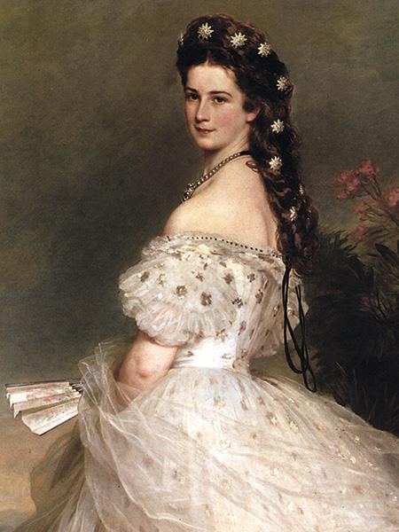 Emperatriz Elizabeth de Austra (Sissi)en vestido Worth, 1865.