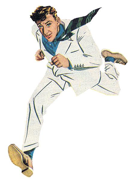"""La película británica """"El hombre del traje blanco"""" (1951) relata las aventuras de un ingeniero textil que viste un terno de ese tono, confeccionado con un nuevo material irrompible, resistente a la suciedad y luminoso."""
