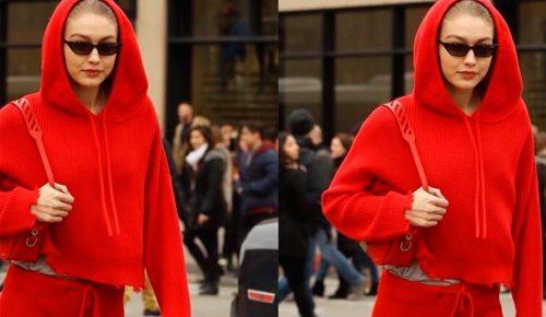 El rojo se lleva de pies a cabeza, a lo Gigi Hadid
