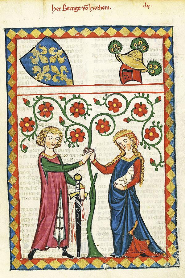 96ed1d961b Hasta la alta Edad Media la vestimenta era casi  unisex . Codex Manesse  Bernger von Horheim.
